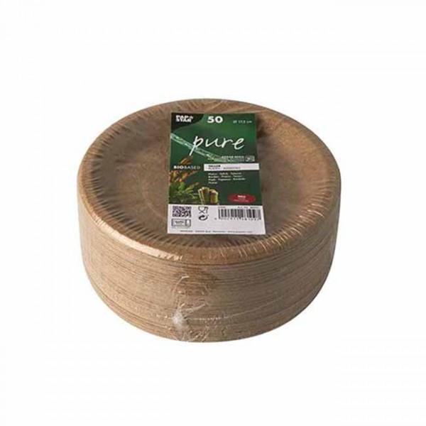 50 piatti per feste realizzati con rifiuti agricoli 17,5 cm