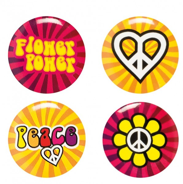 4 Flower Power Hippie Ära Buttons 1