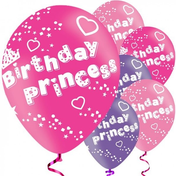 6 Birthday Princess Herzchen Ballons 28cm