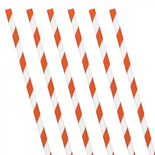 24 paper straws orange-white striped 19cm