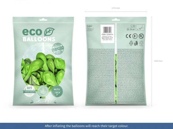 100 eko metalicznych balonów jasnozielonych 26cm