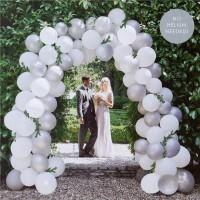 Hochzeit Ballonbogen Set weiß silber