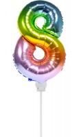 Regenbogen Zahl 8 Stabballon 36cm