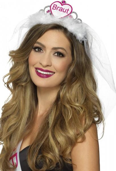 Elegantes Weiß-Pinkes Braut Diadem MIt Schleier