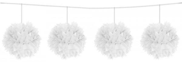 Weiße Pompon Girlande Fluffy 3m 1