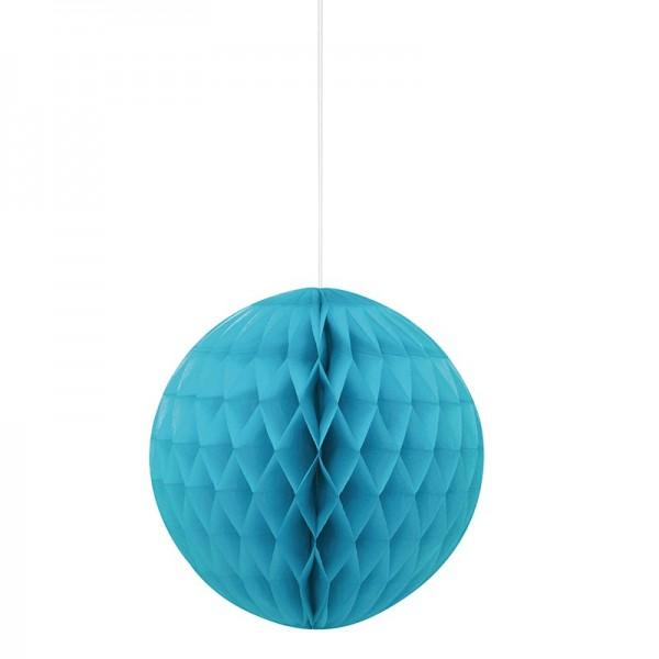 Decorative honeycomb ball turquoise blue 20cm