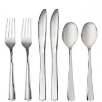 Silbernes Kunststoff Besteck-Set 32-teilig