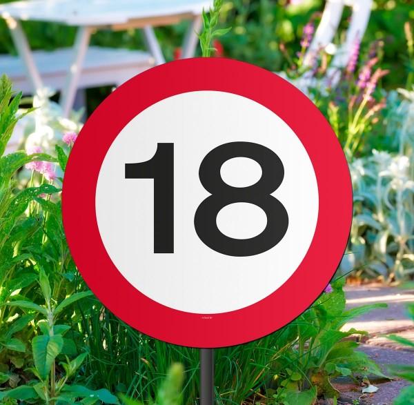 Garten Verkehrsschild 18. Geburtstag 1
