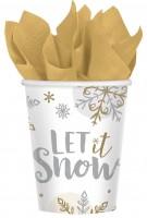8 gobelets en papier Let it snow 266ml