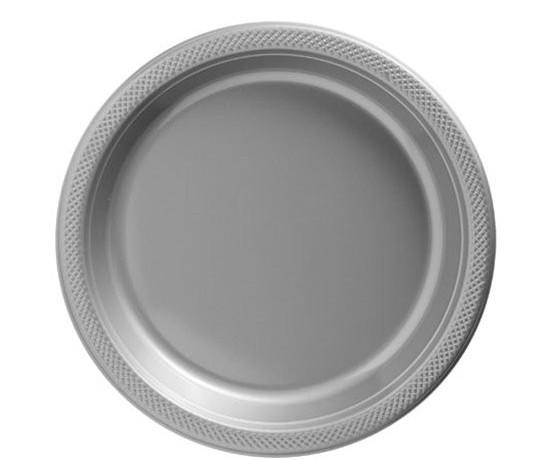 50 platos de papel monocromáticos plateados 17cm