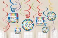 12 Rainbow Birthday Spiralhänger 60cm