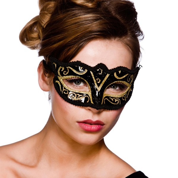 Elegante Augenmaske Verona Schwarz-Gold