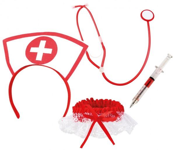 Krankenschwester Set 4-teilig Weiß-Rot