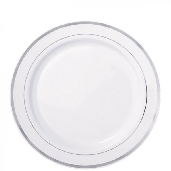 20 Premium plastic borden met zilveren rand 19cm
