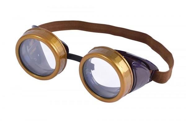 Gafas de aviador nostálgicas doradas