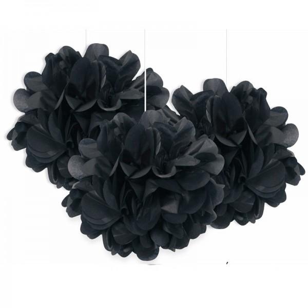 Pompon moelleux noir 23cm