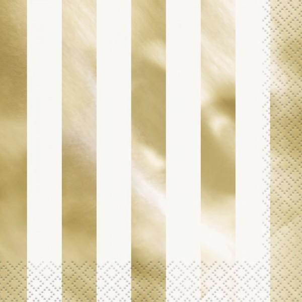 16 Servietten Victoria Gold gestreift 33cm