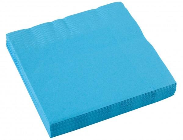 20 Papier-Servietten in Azurblau 33cm