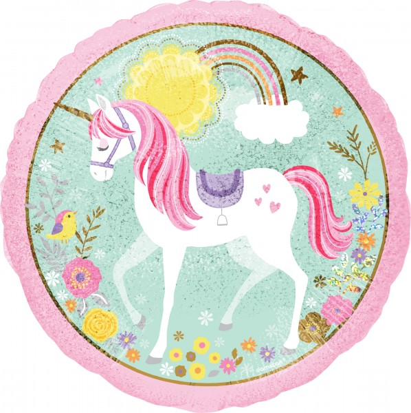 Folienballon Holographic Unicorn 43cm