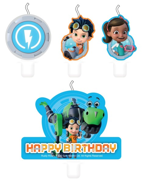 4 Rusty Rivets Geburtstagskerzen