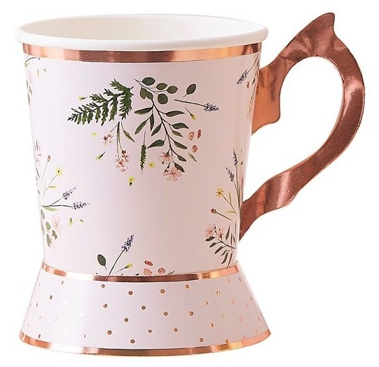 8 floral Tea Time paper cups rose gold 260ml