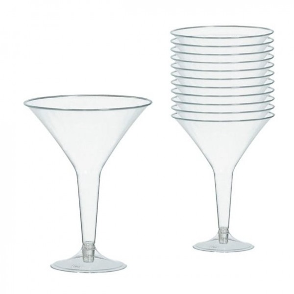 20 plastic martini glasses 227ml