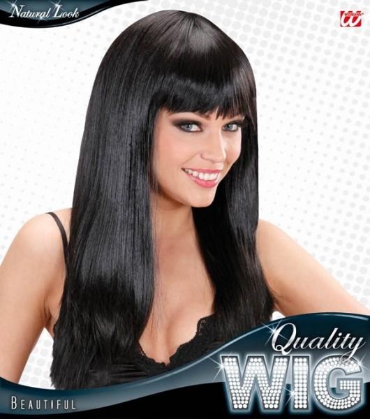 Top modèle femmes perruque cheveux longs noir avec une frange