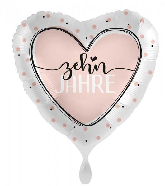 10. Geburtstag Ballon Shiny Heart 45cm