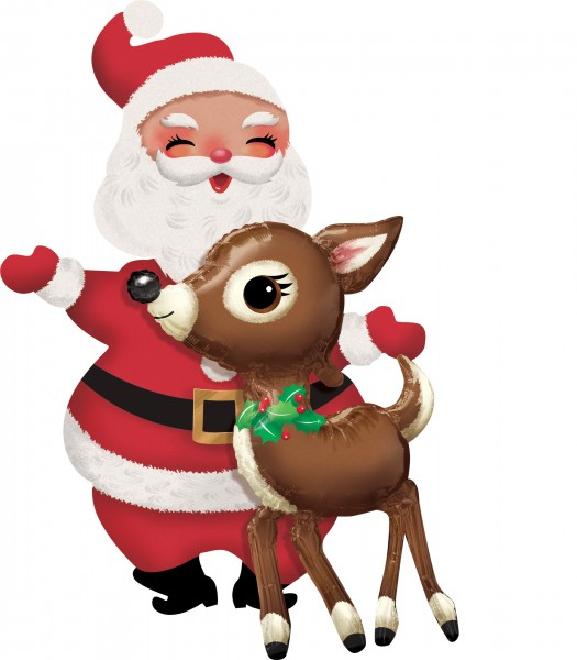 Airwalker Santa con ciervo 78cm x 1,21m