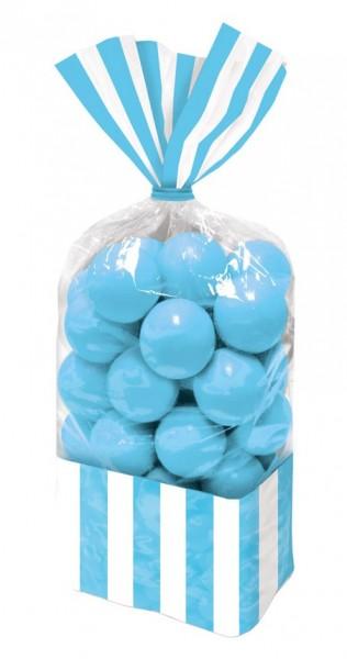 10 torebek na cukierki w paski lazurowoniebieskie