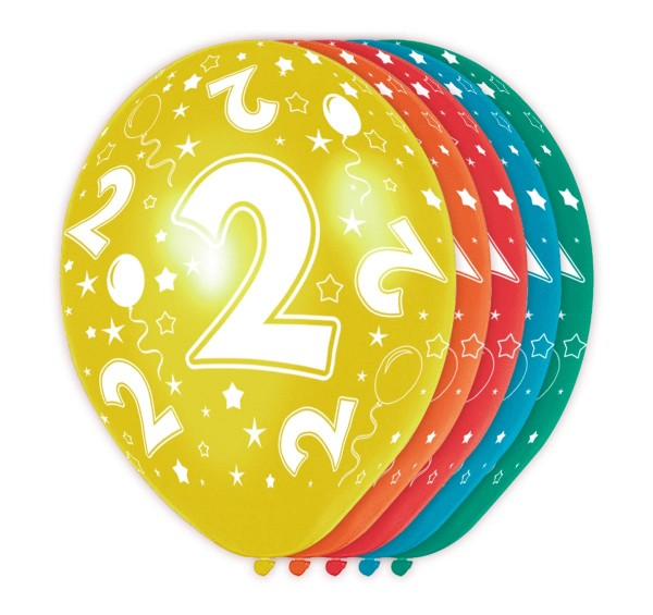 5 bunte Ballons 2. Geburtstag 30cm