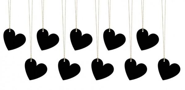 10 étiquettes cadeau coeur noir 5 x 4,5 cm