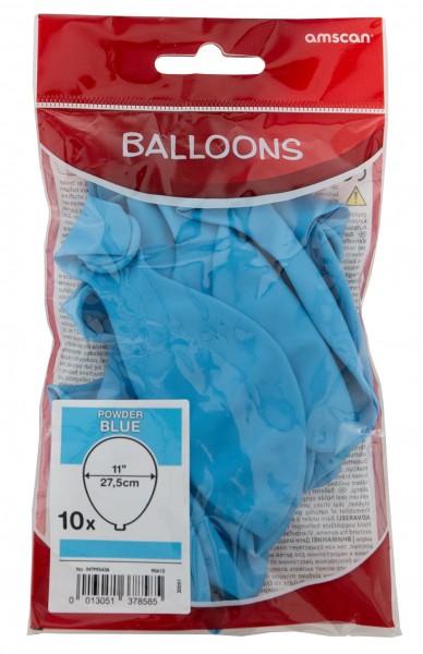 Sæt med 10 balloner lyseblå 27,5 cm