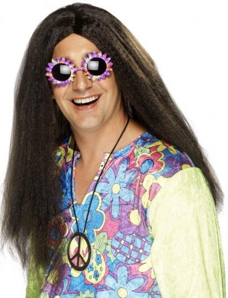 Perruque longue hippie marron