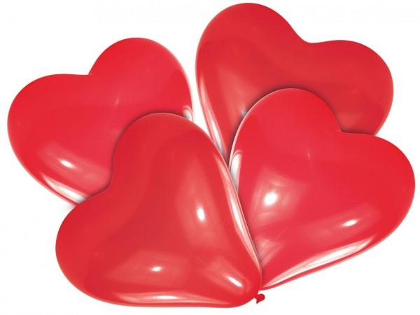 4 globos corazón Helena rojo 30cm