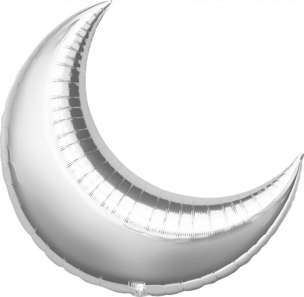Silber schimmernder Folienballon Luna 43cm