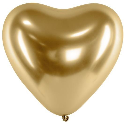 50 balonów w kształcie serduszek Love Egg Gold 27cm