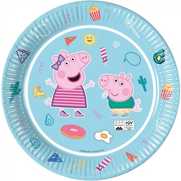 8 platos Peppa Pig Star Shine 23cm compostables