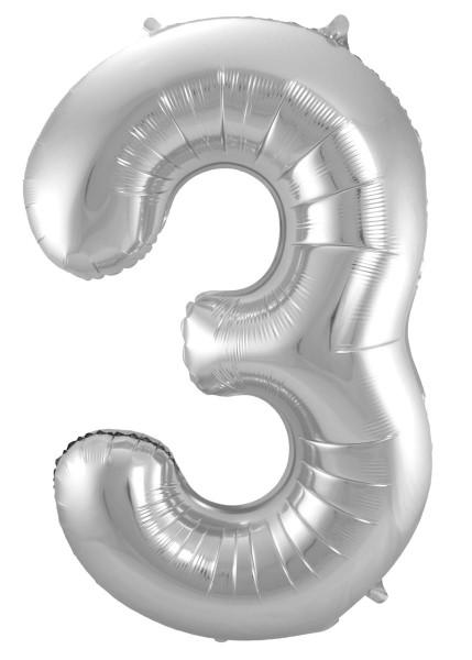 XXL Zahlenballon 3 silber 86cm