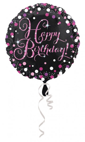 Palloncino Foil Sparkling Happy Birthday pink