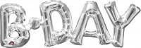 Ballon aluminium lettrage B-Day argent 66x22cm