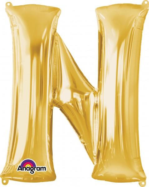 Letter foil balloon N gold 81cm