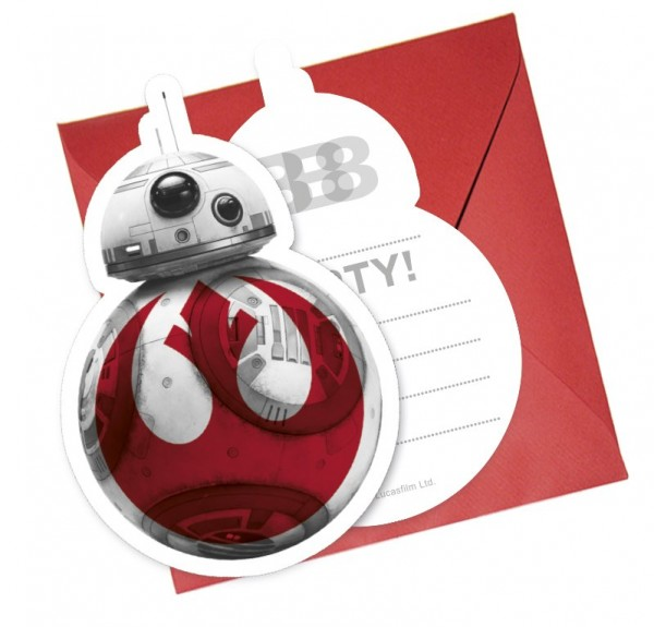 6 cartes d'invitation Star Wars Last Jedi