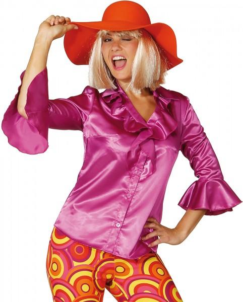 Różowa bluzka damska z falbanami