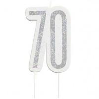 70. Geburtstag silberfarbene Tortenkerze