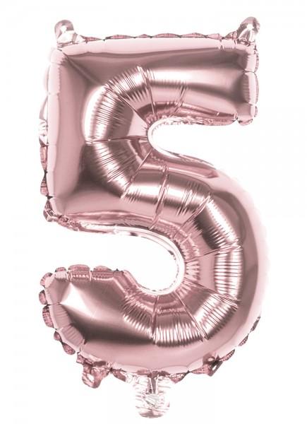Balon foliowy numer 5 w kolorze różowego złota 36cm