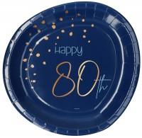 80. Geburtstag 8 Pappteller Elegant blue