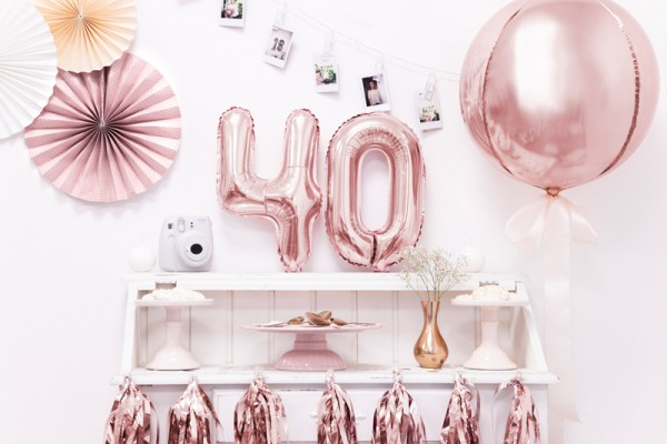 Metallic number balloon 4 rose gold 35cm