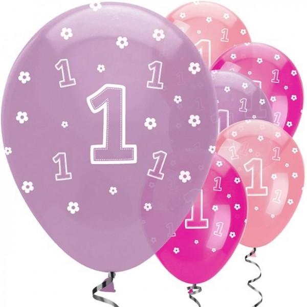 6 Latexballons 1. Geburtstag lila-pink 30cm