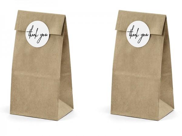 6 sachets cadeaux avec autocollant de remerciement blanc marron